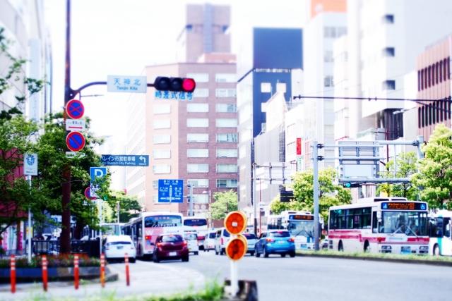 福岡市天神の道路画像