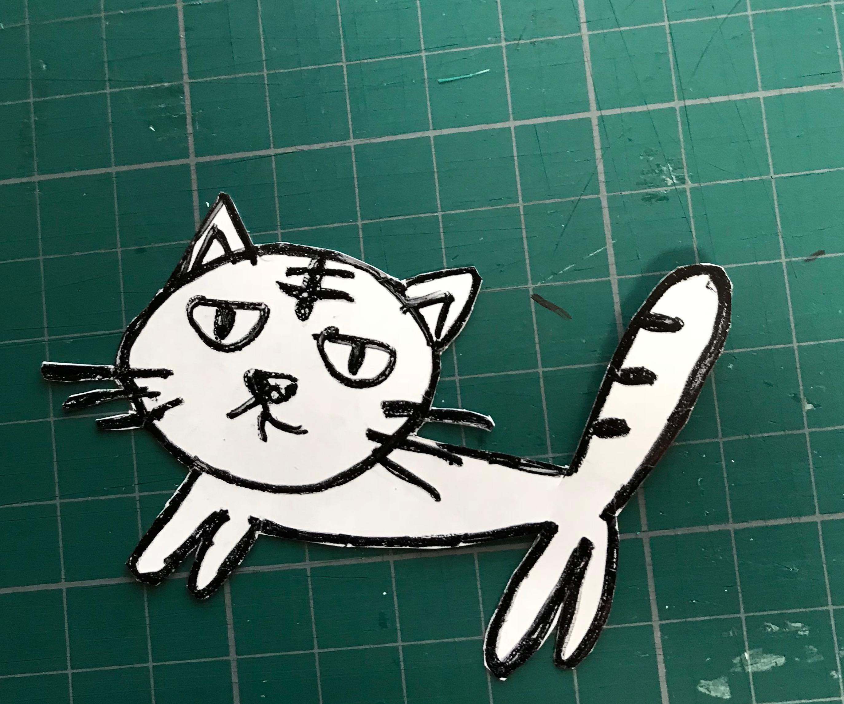 プラバン猫切り取りの画像