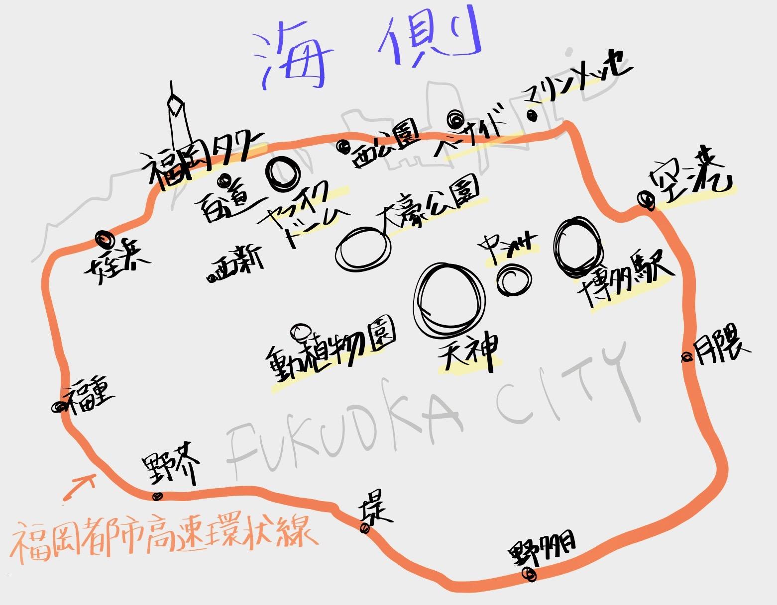 福岡市の地図