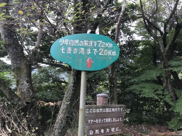 七重の滝までの道のり看板
